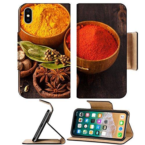 Nutmeg Leaf (Luxlady Premium Apple iPhone X Flip Pu Leather Wallet Case IMAGE ID: 26537422 Spices Curry paprika nutmeg cardamom bay leaf)