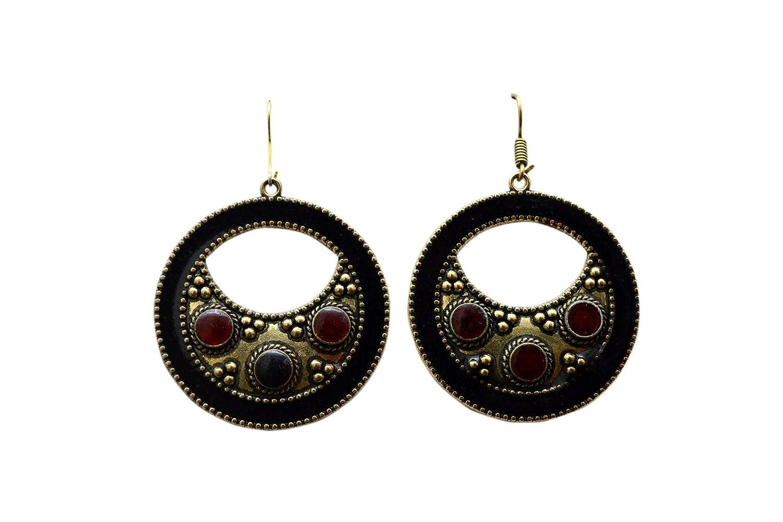 JD/&JD Brass Plated Meenakari Designer Nepali Tibetan Hook Earring Jewelry KE1531