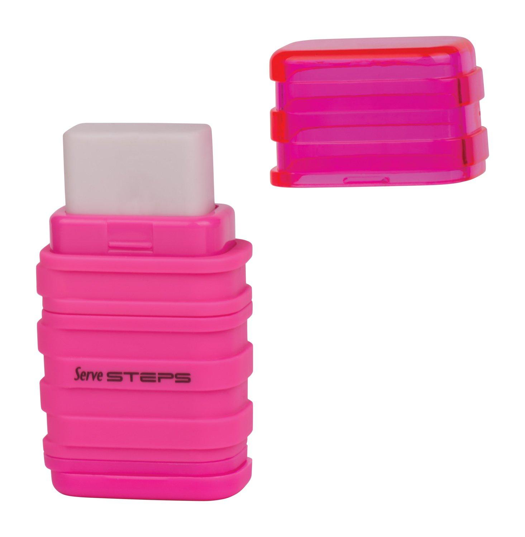 Serve SV Step S9KT Steps Eraser and Sharpner One Body Paper Box, Pack of 9-Fluorescent Colors by Serve (Image #9)