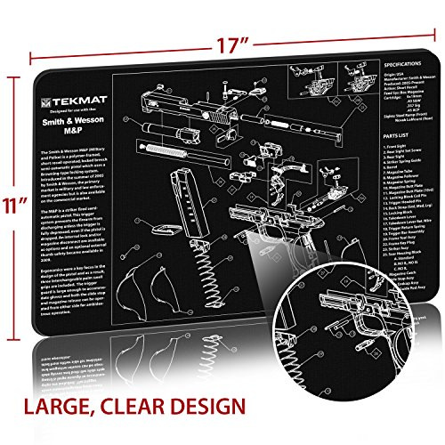 Review TekMat Smith & Wesson M&P Cleaning Mat / 11 x 17 Thick, Durable, Waterproof / Handgun Cleaning Mat with Parts Diagram and Instructions / Armorers Bench Mat / Black