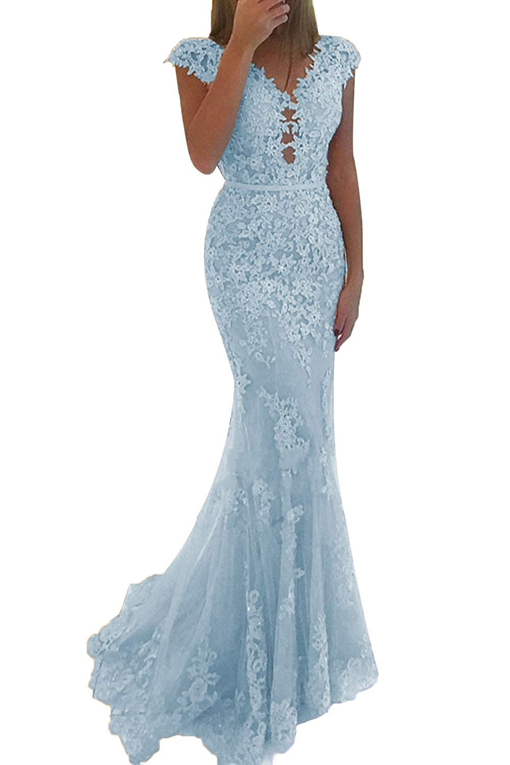 bluee Promworld Women's Lace Applique Beaded Mermaid Prom Dress Cap Sleeve Tulle Evening Gowns Formal