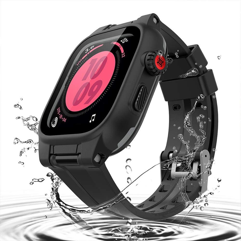 Waterproof Case for Apple Watch Series 6/5/4/SE 44mm, iWatch Protective case + Soft Watch Band + Built-in Screen Protector, Full Body Shockproof Anti-Scratch Rugged Protective Case (Black, 44mm)