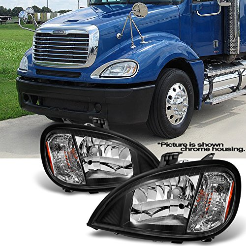 For [Black] 2004-2013 Freightliner Columbia semi-trailer Truck Driver Left & Passenger Right Headlights