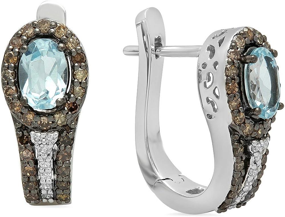 Dazzlingrock Collection Pendientes de aro de oro de 14 quilates con topacio azul y corte redondo, champán y diamante blanco