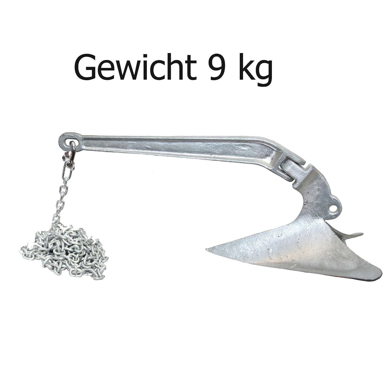 Pflugscharanker Set 9 kg Stahl feuerverzinkt + Ankerkettenvorlauf Ø 6 mm - bootsshop in Bad Ischl
