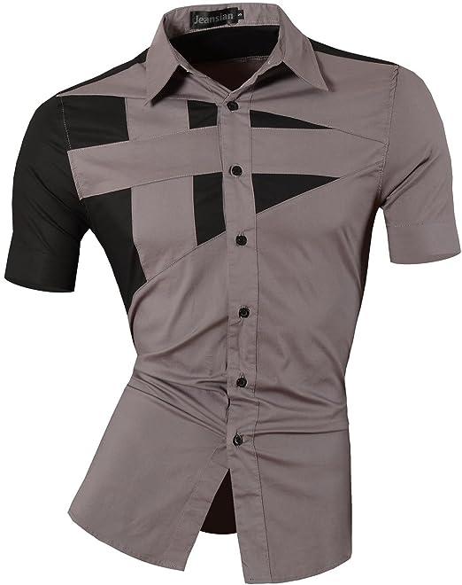 82b864e780cbe Jeansian Hombre Camisas Moda Manga Larga Men Fashion Slim Fit Casual Short  Sleeves Shirts 8360  Amazon.es  Ropa y accesorios