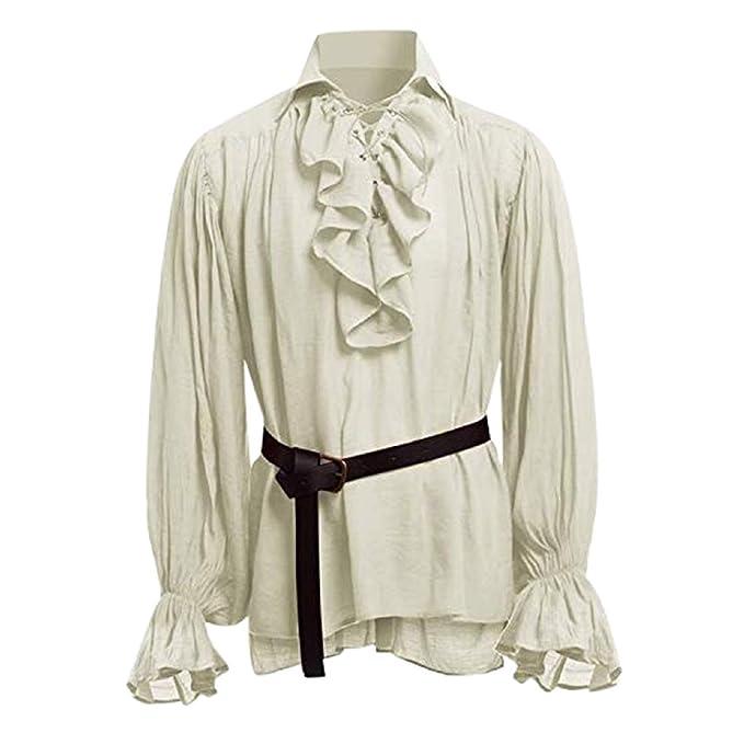 STRIR Camisa con Cordones renacentista Medieval Túnica ...