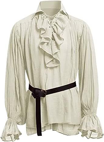 STRIR Camisa con Cordones renacentista Medieval Túnica Medieval Traje Caballero Viking Guerrero Camiseta con Cinturón para Hombres Disfraz de Pirata de la Edad Media: Amazon.es: Ropa y accesorios