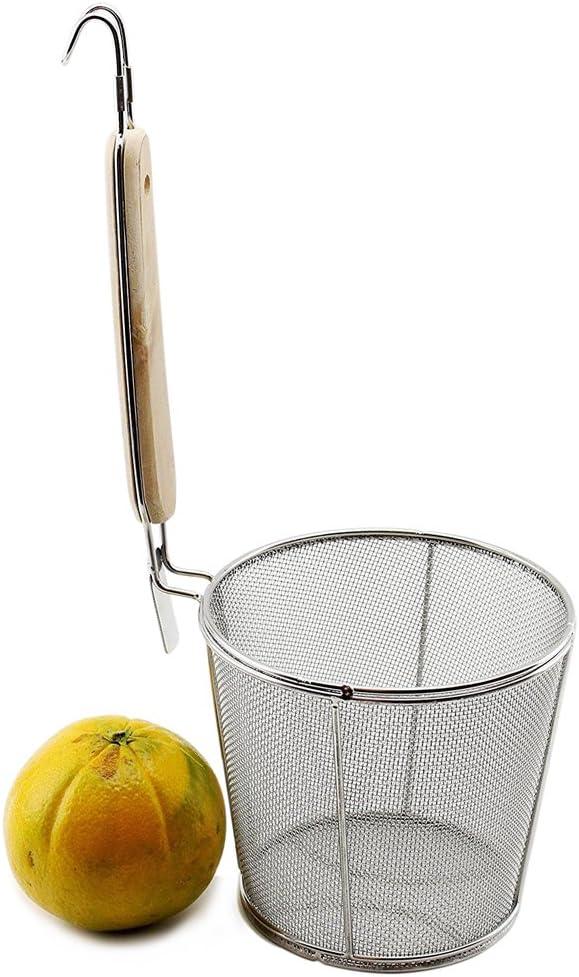 Large Flat Cylinder Wok Strainer Colander Fry Basket - Stainless Steel, Wooden Handle for heat resistance, fine mesh 5