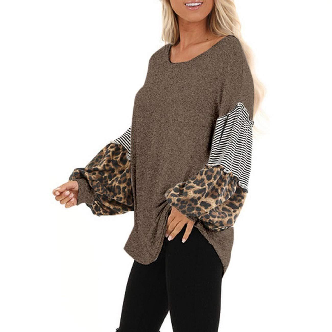 Tsmile Women Leopard Print Sweatshirt Long Lantern Sleeve Color Block Patchwork Striped Casual Tunic Tops Pullovers