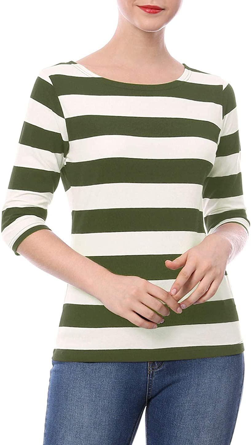 Allegra K Women's Elbow Sleeves Striped T-Shirt Top Casual Basic Boat Neck Slim Fit Tee