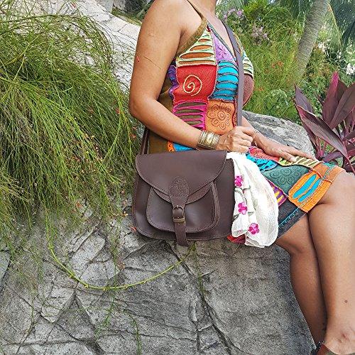 Handbag Smooth Purse Women inch Ladies PURPLE Chocolate Leather Shoulder 11 RELIC Leather Crossbody for ~ qIq1Oa