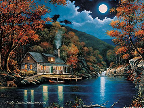 River's Edge 16' X 12' Led Wall Art - Cabin By The Lake 1757