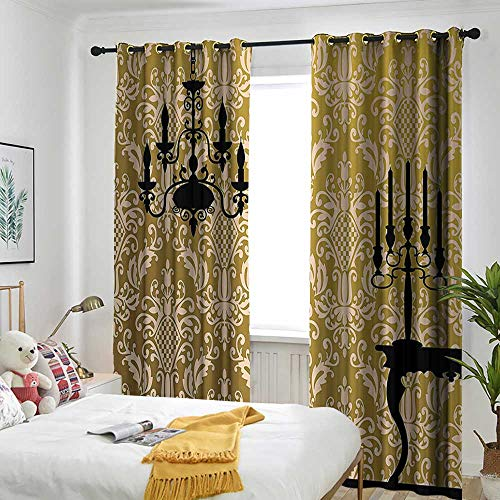 """Damask Decor Window Curtains English Country House Damask Motif on Wall and Chandelier Silhouettes Renaissance Decor Room Darkening, Noise Reducing 72"""" W x 84"""" L Golden Black"""
