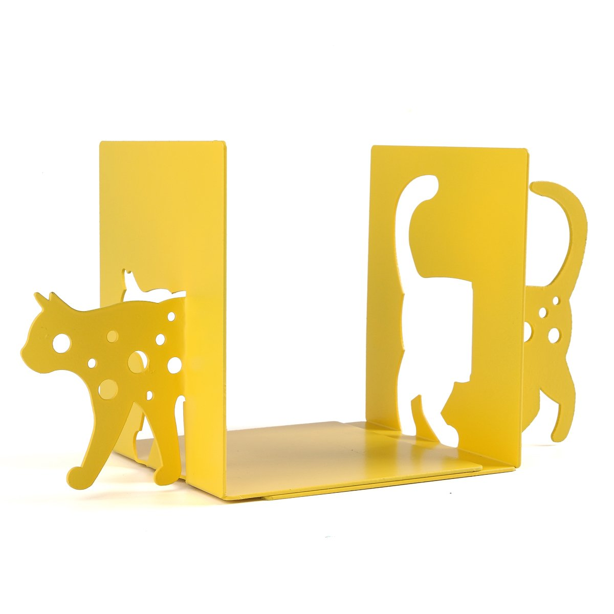 NIKKY HOME Yellow Cat Metal Decorative Nonskid Art Bookends, 1 Pair