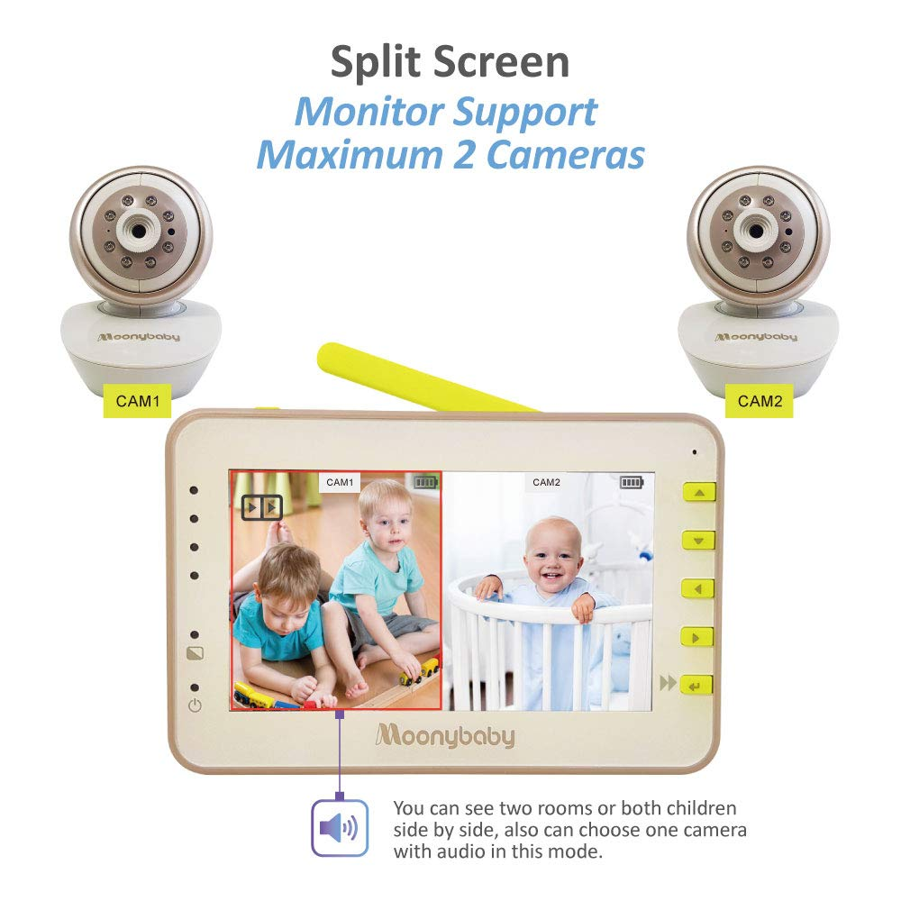 Video Baby Monitor 2 Cameras, Split Screen by Moonybaby, Pan Tilt Camera, 170 Degree Wide View Lens Included, 4.3 inches Large Monitor, Night Vision, Temperature, 2 Way Talk Back, Long Range by moonybaby (Image #5)