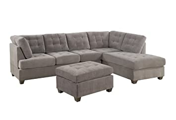 2 Piece Modern Grey Soft Micro Suede Sectional Sofa with Free Ottoman