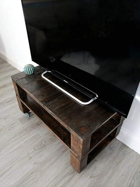 Dydaya Mesa de Palets Pintada en Color Nogal para TV - Mesas para TV Altas con Ruedas Estilo Industrial & Vintage (Madera Natural 90x50x35): Amazon.es: Hogar