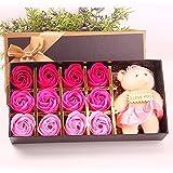 Menshow(メンズショウ) 母の日 花 熊のぬいぐるみ 石鹸の花 枯れない花 クマ付き 綺麗な花束 造花 ソープフラワー ローズフラワー 贈り物 誕生日 バレンタインデー 結婚 お祝い bear pink