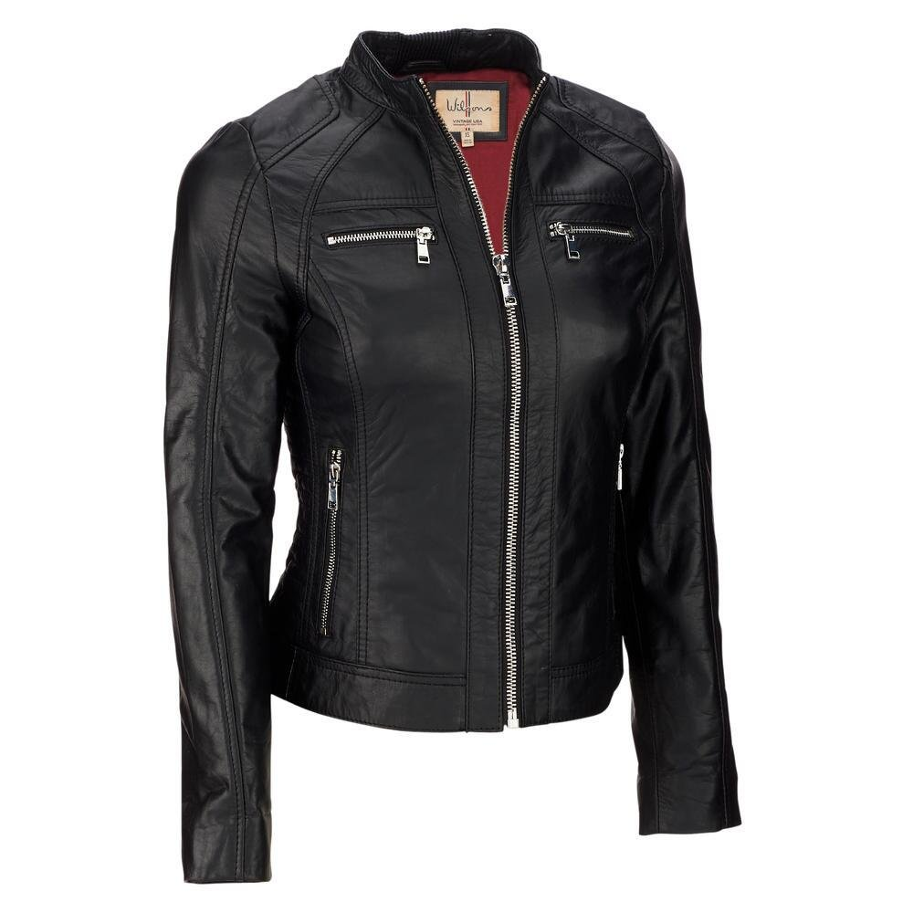 Wilsons Leather Womens Vintage Moto Leather Jacket W/Metallic Accents M Black