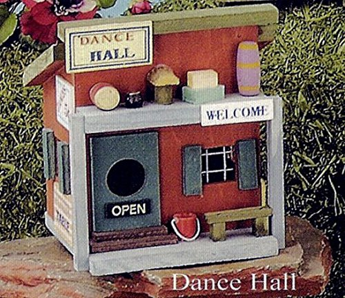 Wooden Folk Art Bird House - Dance Hall Theme
