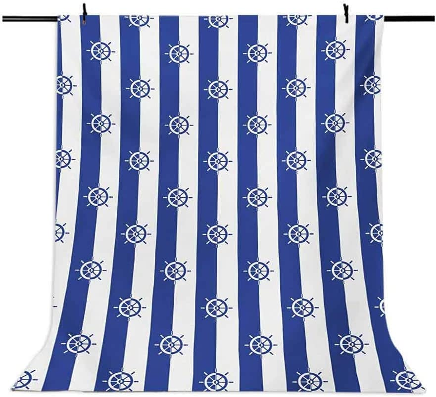 Ships Wheel 6.5x10 FT Backdrop Photographers,Sailor Stripes Breton with Silhouettes of Ships Wheels Classic Artwork Background for Party Home Decor Outdoorsy Theme Vinyl Shoot Props Royal Blue White