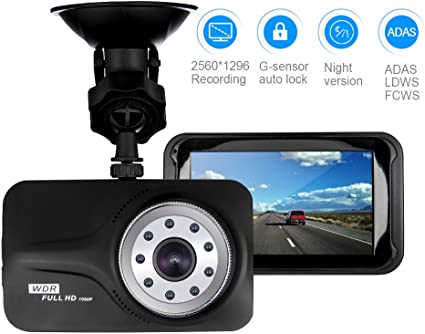 Dash Cam aiworth Full HD Car Driving Recorder Car Driver Camera Recorder with 3 Inch LCD Screen 170 Degree Wide Angle Ai/_ODV01