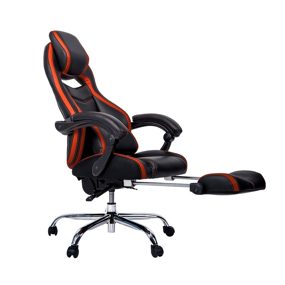 Merax Racing Style Executive PU Leather Swivel Chair with Footrest and Back Support Reclining (Orange)