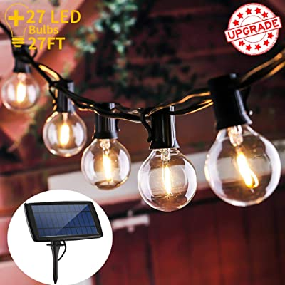 LOGUIDE Waterproof LED Outdoor Solar String Lights, UL Listed Backyard Patio Lights, 27 Pcs Vintage Edison Bulbs - 27 Ft Heavy Duty Patio Lights Create Cafe Ambience On Your Porch, Warm White : Garden & Outdoor