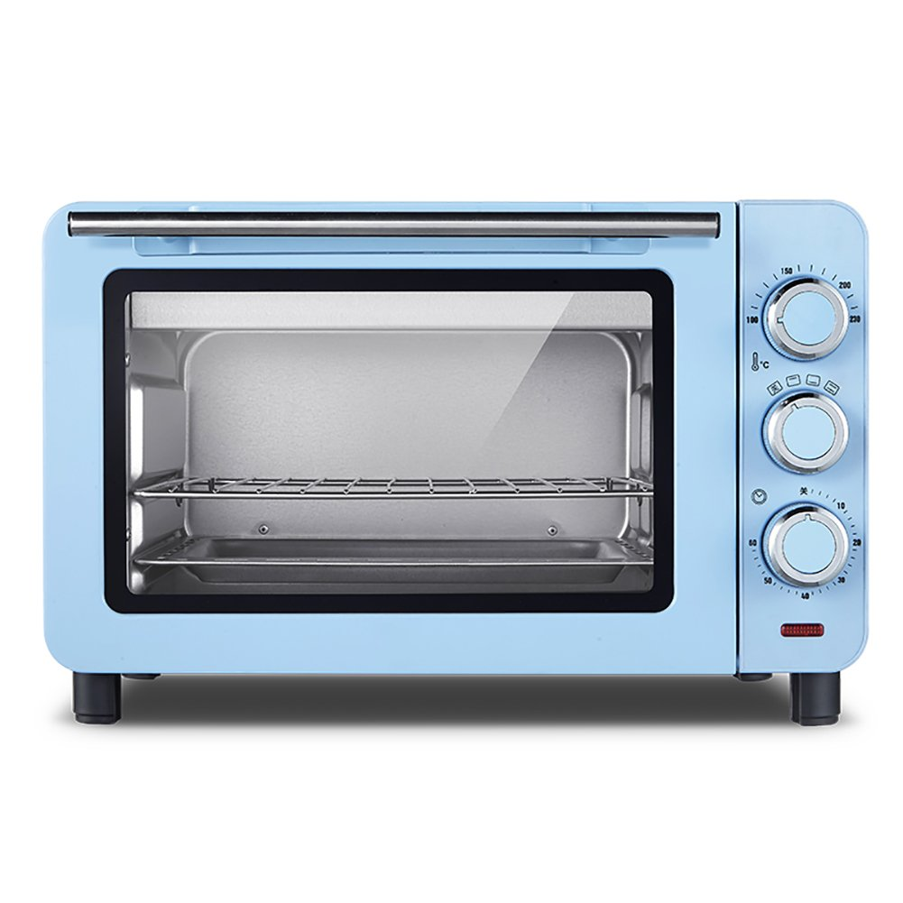 DULPLAY 15L Toaster Oven,Best Convection,Includes Bake Pan Broil Rack Countertop Oven Polished Stainless Toast Home Kitchen-Blue 39.5x35x25.3cm(16x14x10inch)