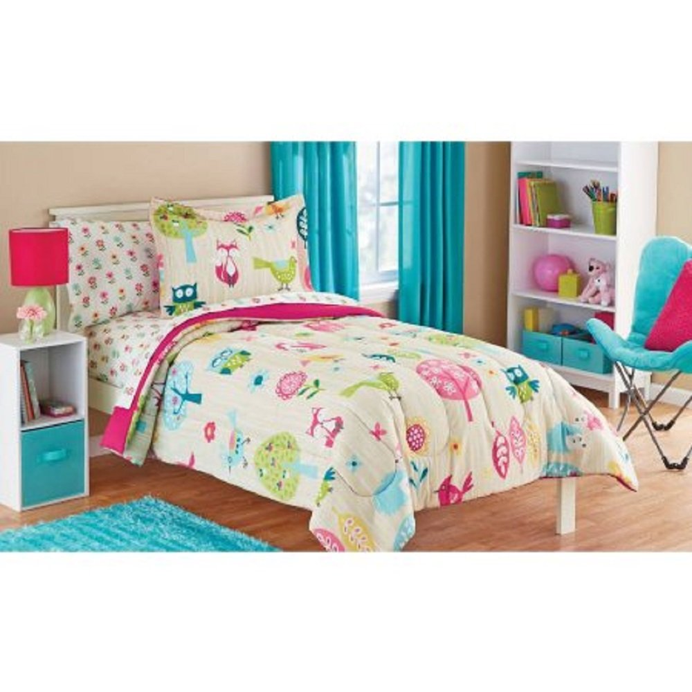 Owl Life White Pink Green and Blue Owl Bird Cute Kids Twin Bedding Set