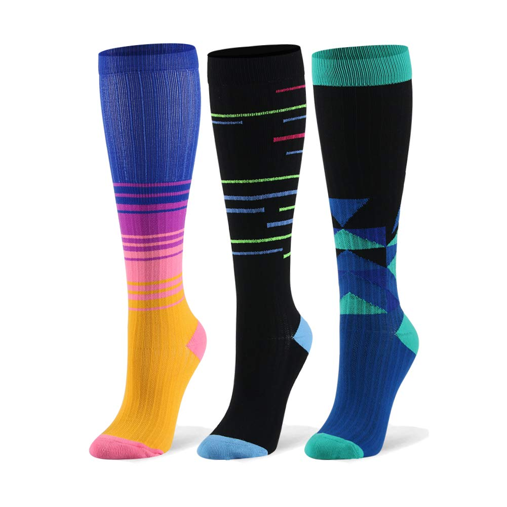 Compression Socks for Men & Women - 20-30mmHg 2 to 6 Pairs Compression Stockings for Runners, Edema (Small/Medium, Assort 15, 3 Pairs)