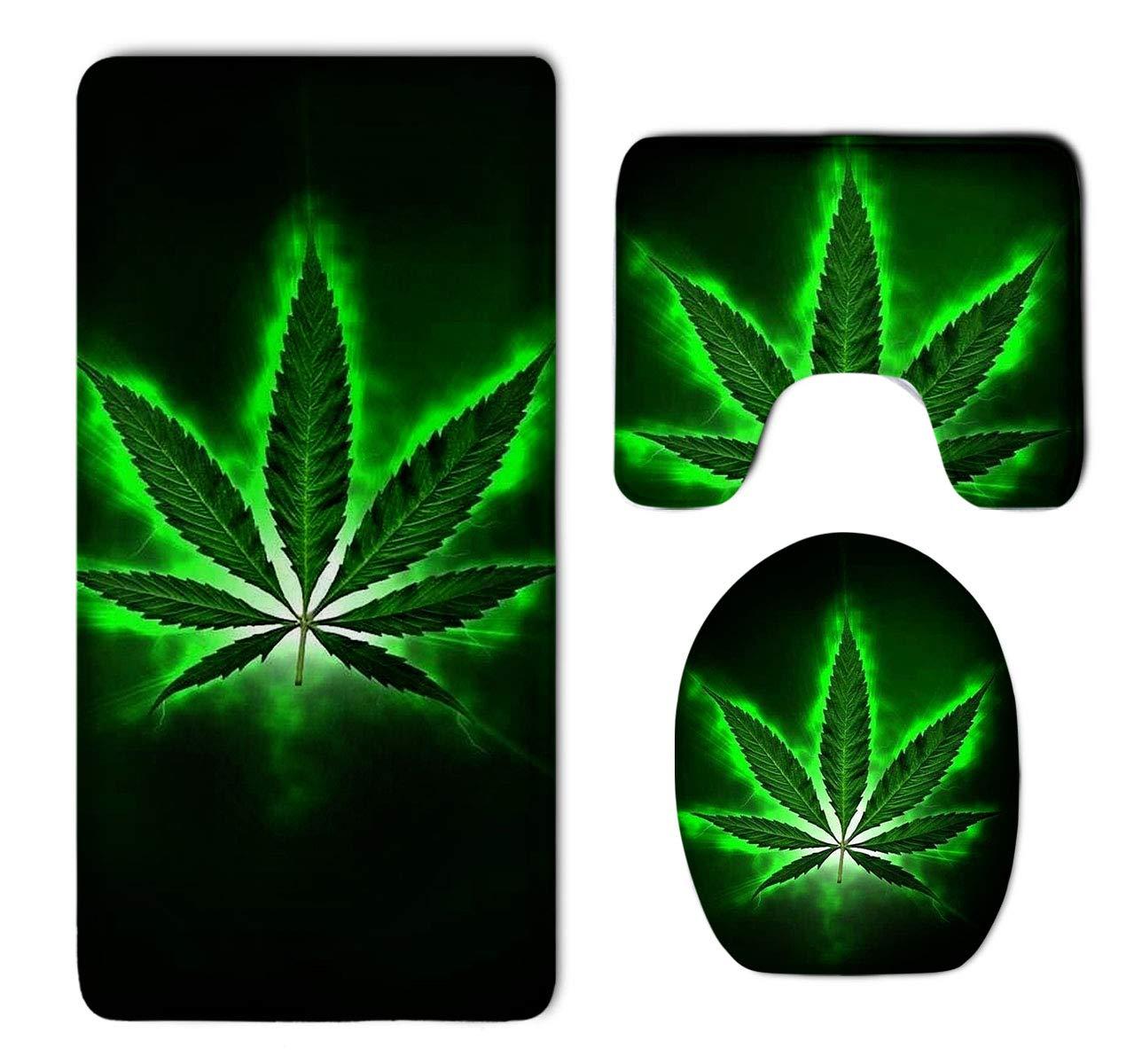 HOMESTORES Green Marijuana Leaf Weed Bathroom 3-Piece Mat Sets Pedestal Mat+Lid Toilet Cover+Bath Mat Doormat Non-slip Rug