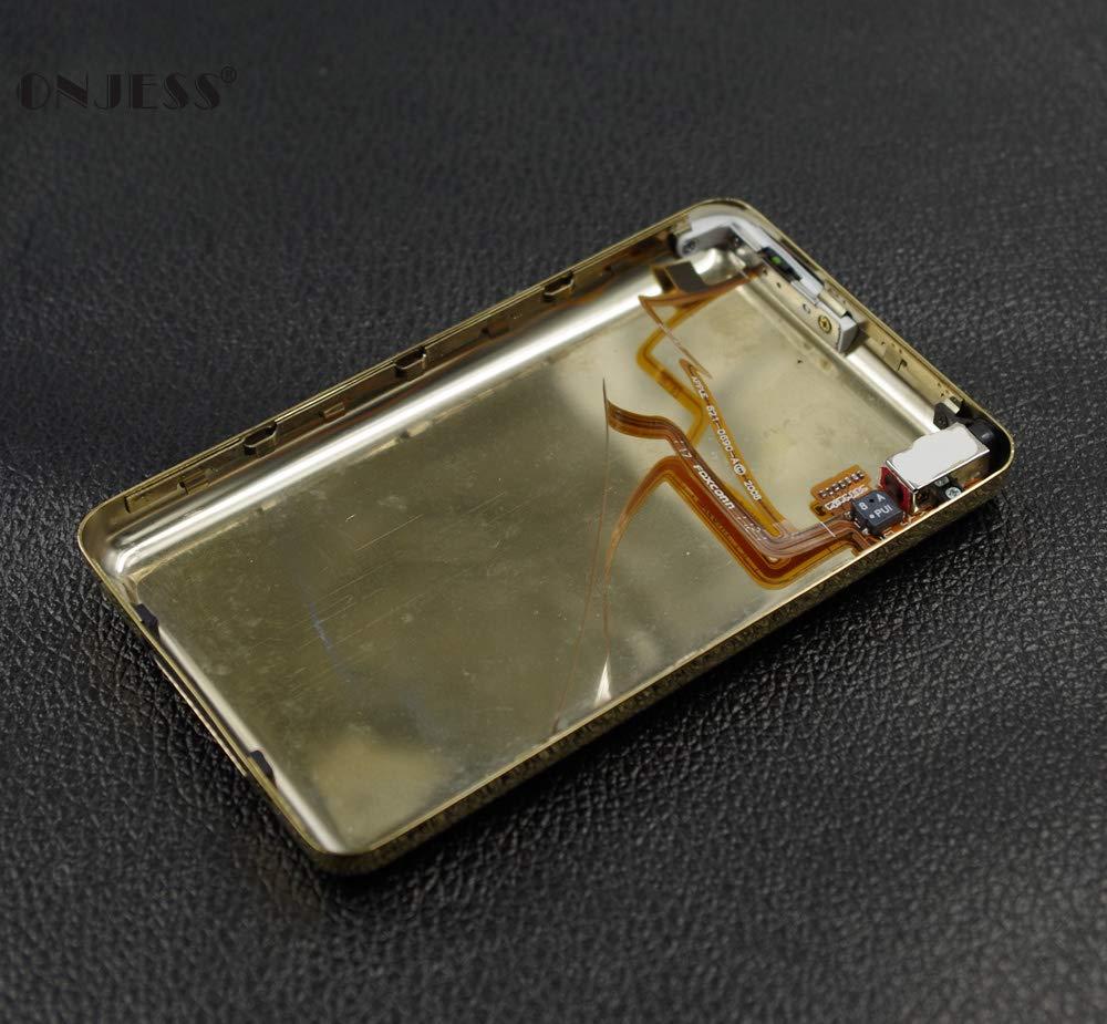 Onjess ゴールド薄手メタルバックハウジングケースカバー ヘッドフォンオーディオジャックホールドスイッチ付き iPod 6th Classic 80GB 120GB 7th Classic Thin 160GB, Thin 160GB Thin 160GB  B07MGSRG27