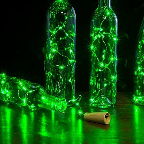 AGPTEK 8PCS/Set Cork Shape Lights 30inch Copper Wire Wine Mini String Light for Christmas Wedding Party Halloween Decoration - Green
