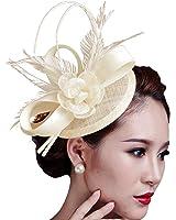 Fascigirl Sinamay Fascinator Hat Feather Party Pillbox Hat Flower Derby Hat for Women