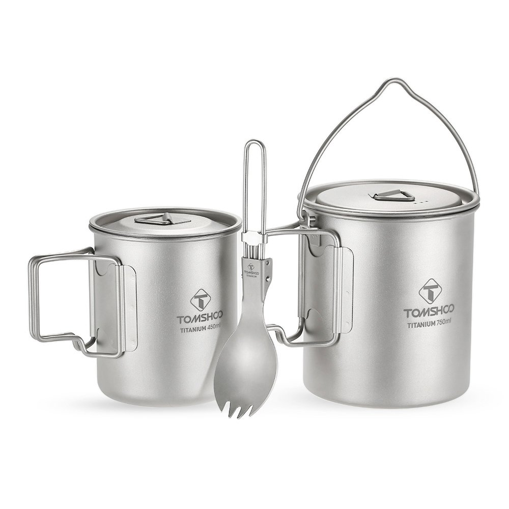 TOMSHOO Lightweight Titanium 3 Pieces Set Titanium 750ml Pot 450ml Water Cup Mug with Lid Collapsible Handle Folding Spork for Outdoor Camping Hiking Backpacking by TOMSHOO
