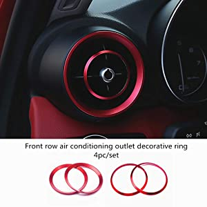HAILWH Car Interior Modification Accessories Fit for Alfa Romeo Giulia Stelvio 2015-2020 Aluminum Alloy Upgrade Decoration Accessories (red, Air Conditioning Outlet Ring 4pc/Set)