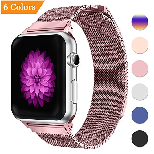 Bandx Milanese Loop Band for Apple Watch 38mm 42mm,Stainless Steel Mesh Band with Magnetic Closure for iWatch Series 3 Series 2 Series 1 (Rose Pink (Pink Gold Watch)