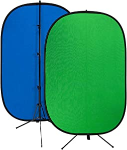 Fotodiox Pro Collapsible Background Kit - 48x72in (4x6ft) Chromakey Green/Chromakey Blue 2-in-1 Background Panel with 2.1m Stand