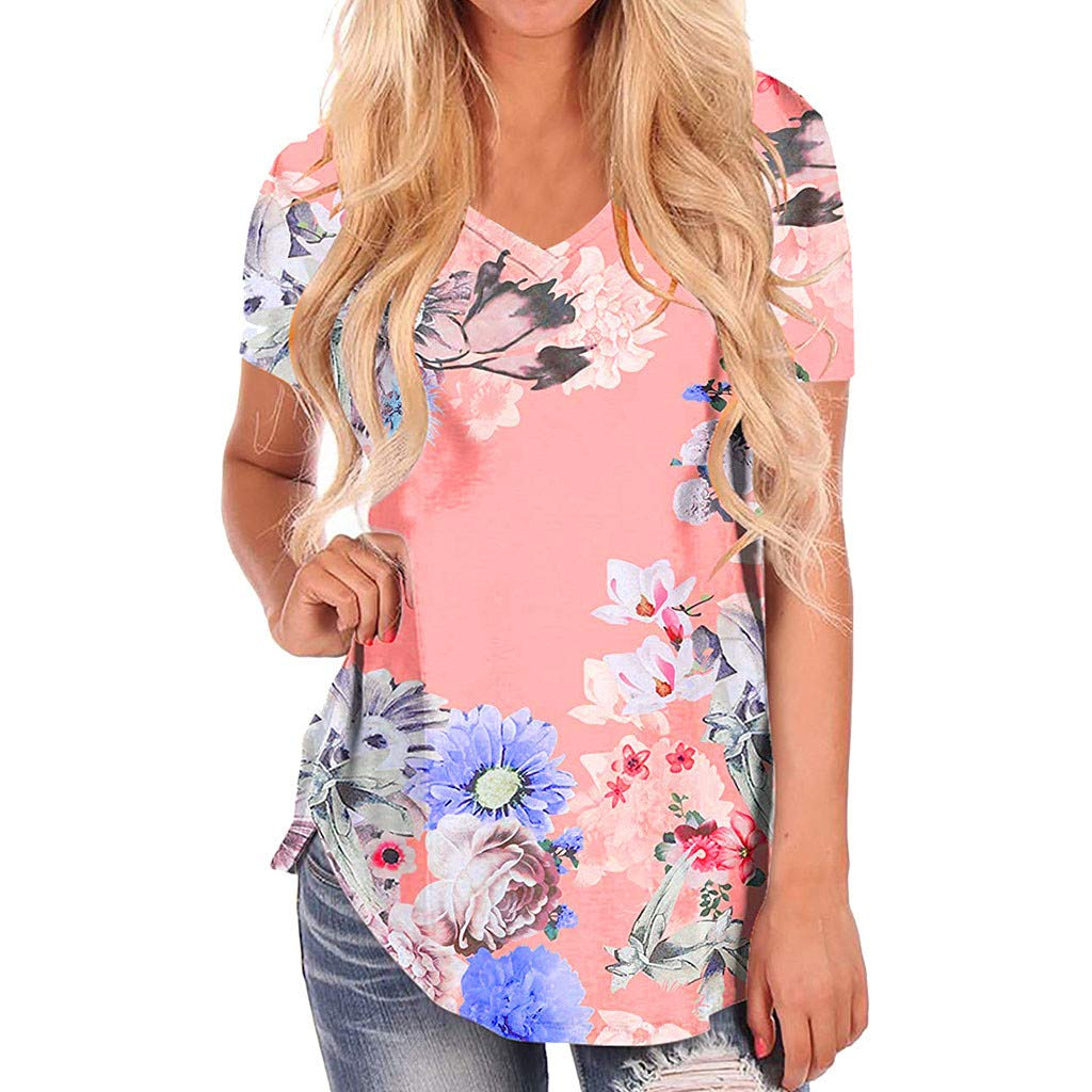 Women T-Shirt Blouse, Short Sleeve V-Neck Floral Print Loose Flare Tunic Tops Casual Tee Tunic Tops (XXL, Pink)