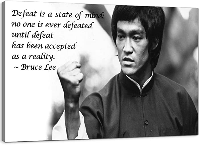 Office Motivational Wall Decor Bruce Lee Quotes Canvas Wall Art Inspirational Posters Entrepreneur Office Artwork Ready to Hang for Home Decor (24''H x 36''W)