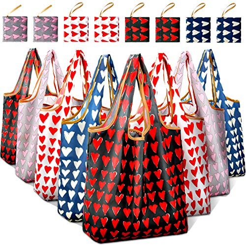Reusable Grocery Shopping Bags Foldable with Pouch, Heavy Duty Nylon Cloth Reusable Bags for Groceries, Shopping Trip (Heart-shape, 8-pcs)