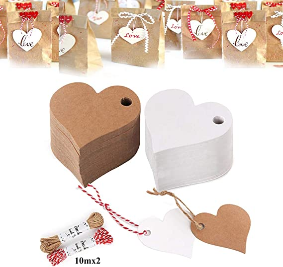 Febbya Kraft Étiquette Kraft Papier Cadeau Tags 100 étiquettes Brunes PCS avec 10 mètres de Ficelle en Jute pour Bagages Prix Étiquettes Cadeaux et étiquettes de Bricolage Mariage