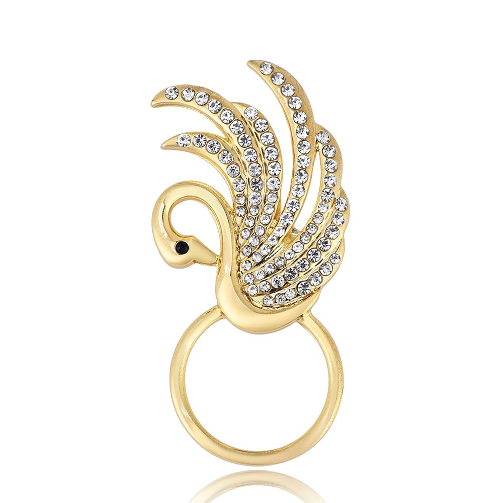 RUXIANG Swan Bird Magnetic Eyeglasses Holder Brooch Pin Jewelry for Women Girls (Gold)