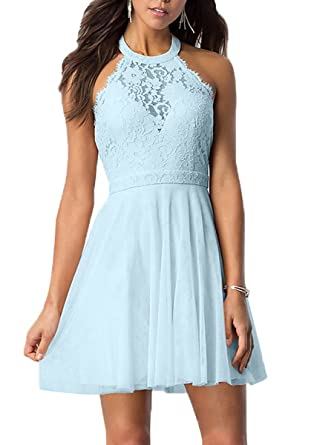 Danadress Women s High-Neck Short Lace Bodice Halter Homecoming Party  Dresses 30a659158