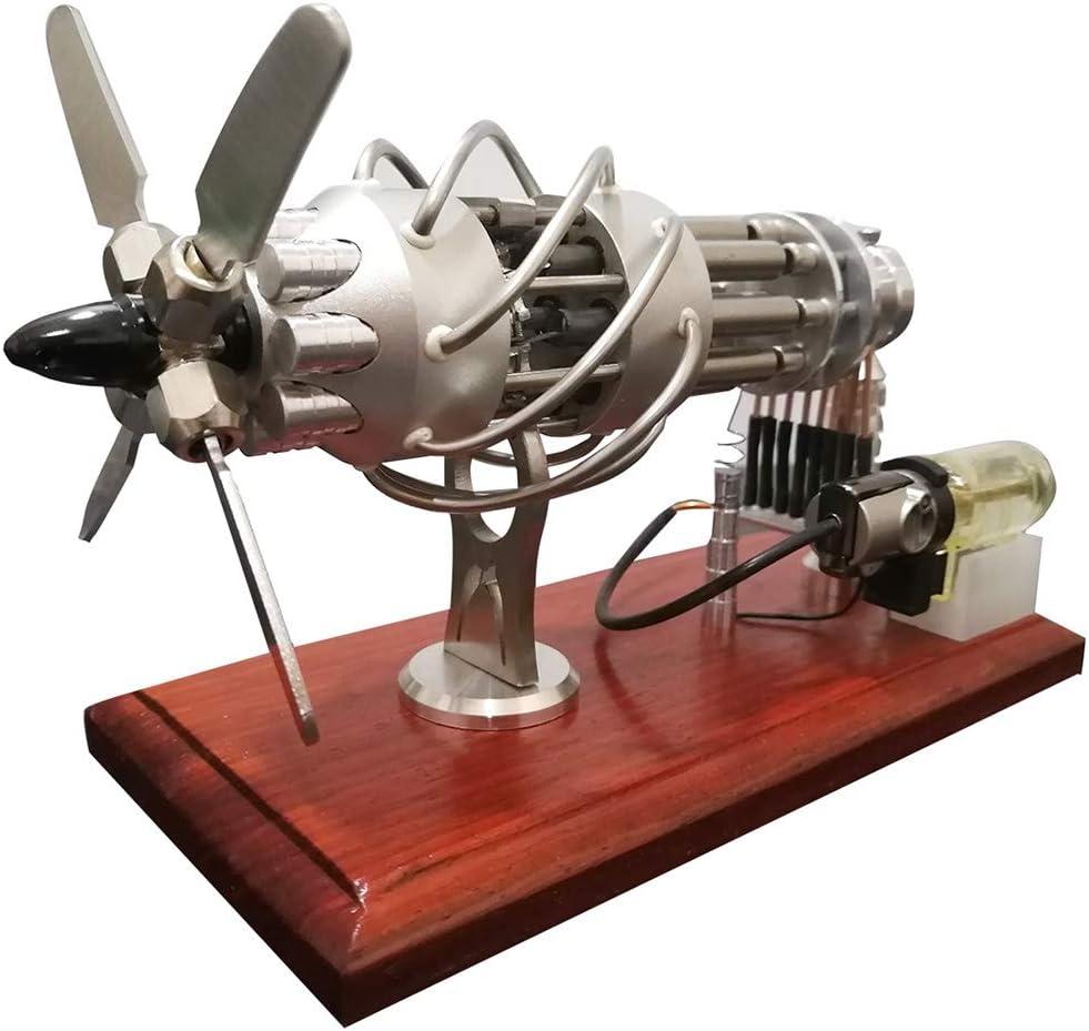 Yamix 16 Cylinder Stirling Engine Motor Model, Hot Air Stirling Engine Motor with Stainless Steel Hot Cylinder and Glass Piston, Physics Education Toy