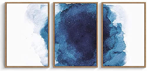 SIGNWIN 3 Piece Framed Canvas Wall Art Navy Blue Watercolor Painting Canvas Prints Home Artwork Decoration