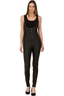 f748de187b330 Crazy Lover Womens Black Skinny Dungarees - Leather Look Stretch Slim Leg  Bib Overalls Fleur