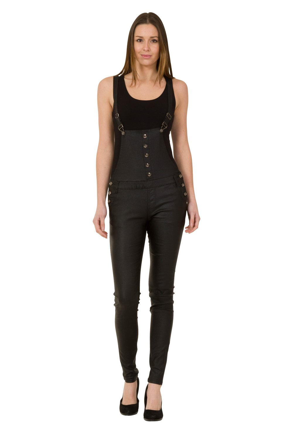 Womens Black Skinny Bib Overalls - Leather Look Slim Leg Dungarees with Stretch Crazy Lover
